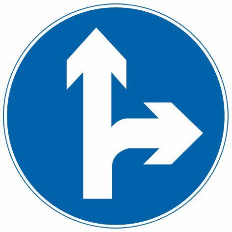 直行和向右转弯 表示只准一切车辆直行和向右转弯 此标志